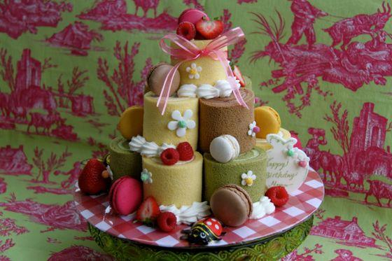 ロールケーキのお誕生日ケーキ